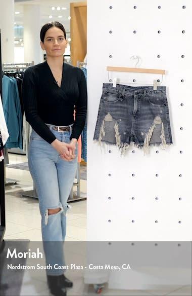 Shredded Slouch Denim Shorts, sales video thumbnail