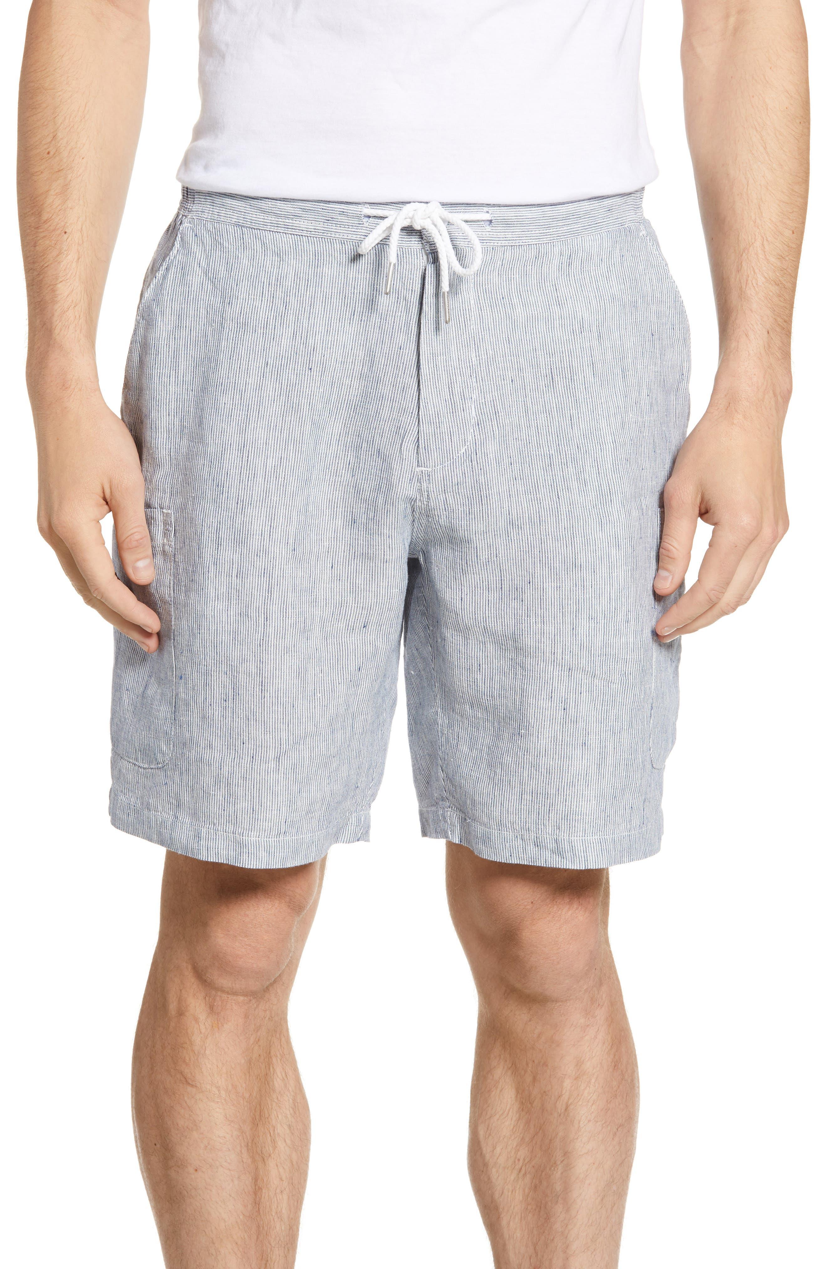 Reyn Spooner Pinstripe Linen Cargo Shorts, White
