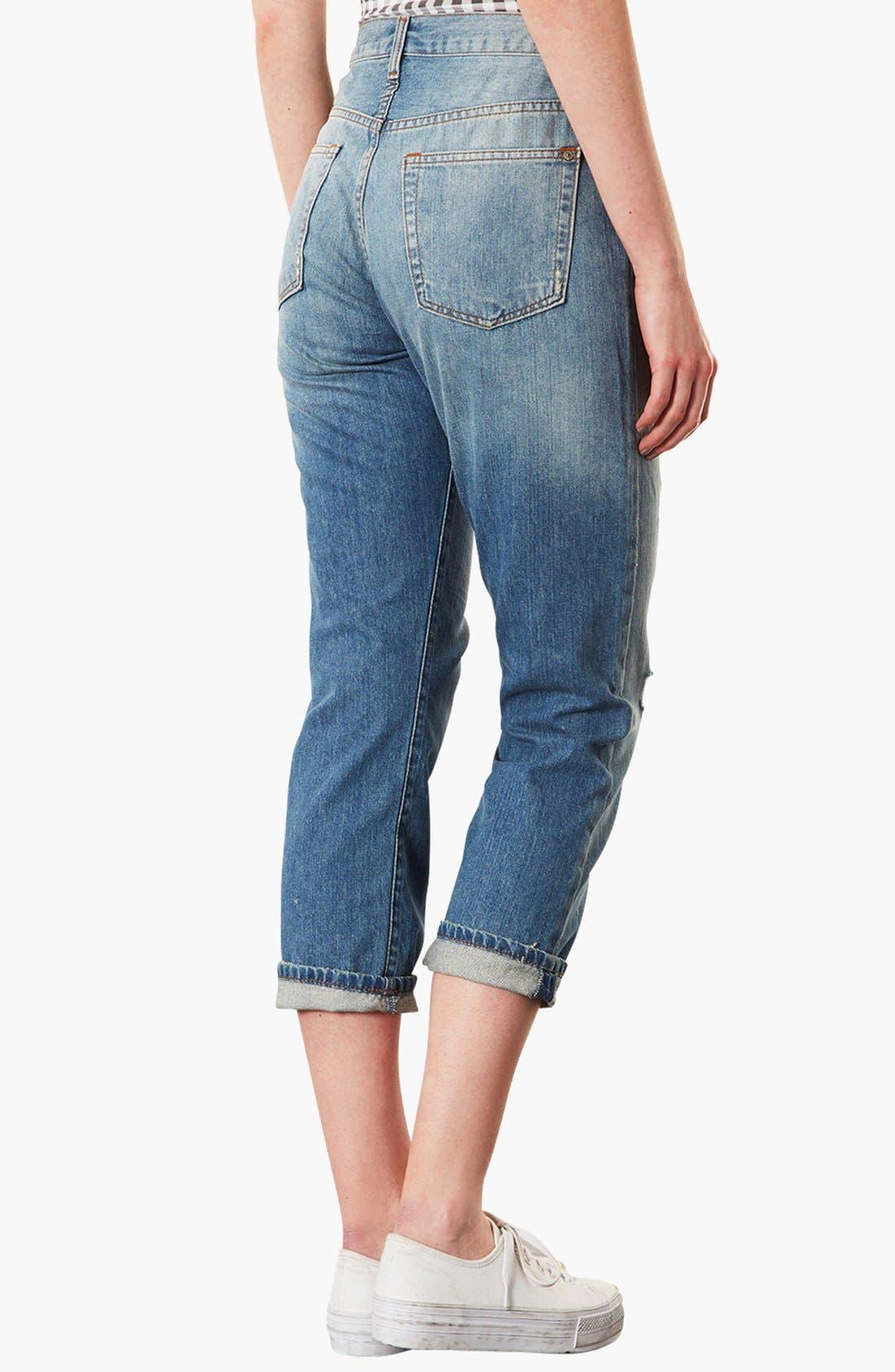 ,                             Moto 'Kevin' Ripped Boyfriend Jeans,                             Alternate thumbnail 3, color,                             420