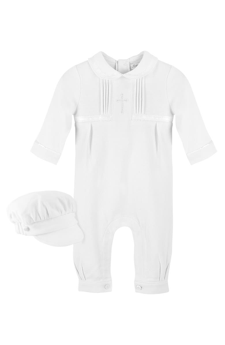 CARRIAGE BOUTIQUE Cross Embroidered Christening Romper & Newsboy Cap Set, Main, color, WHITE