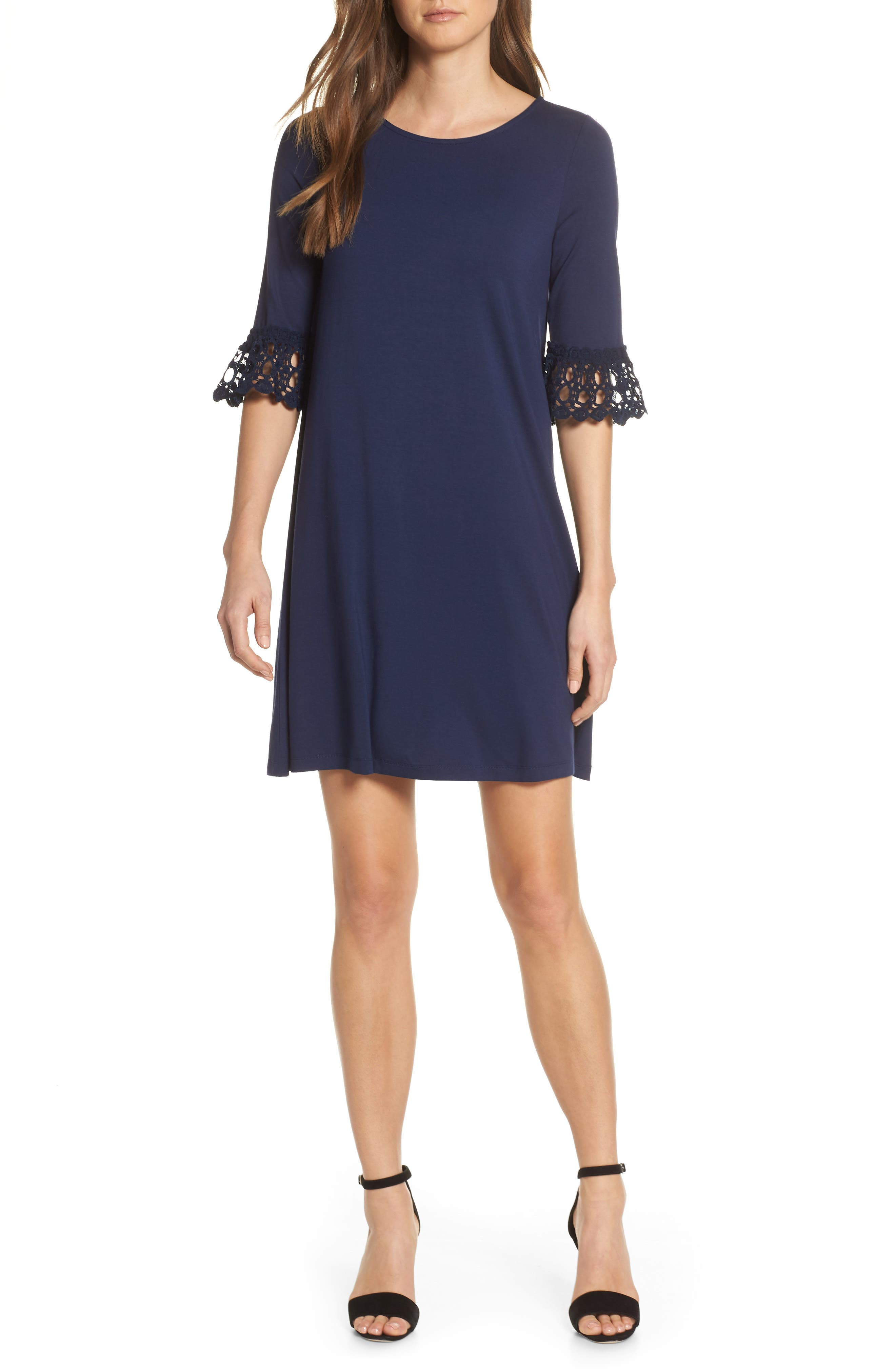 Lilly Pulitzer Ophelia Crochet Cuff Shift Dress, Blue
