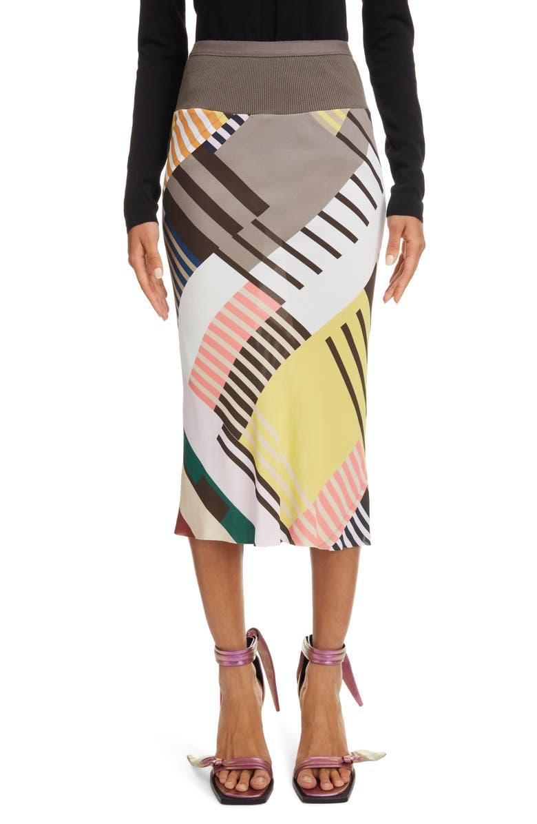 RICK OWENS Geo Print Crepe Pencil Skirt, Main, color, UXMAL PRINT