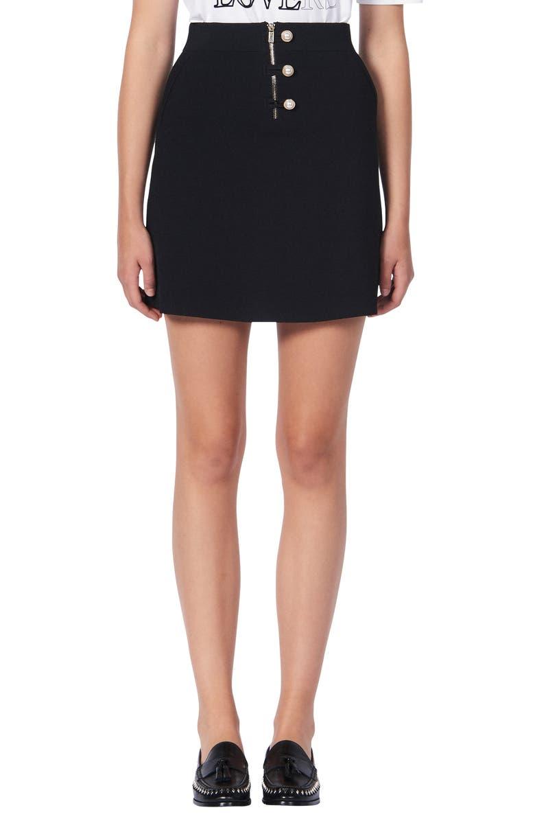 SANDRO Bale Knit Miniskirt, Main, color, BLACK