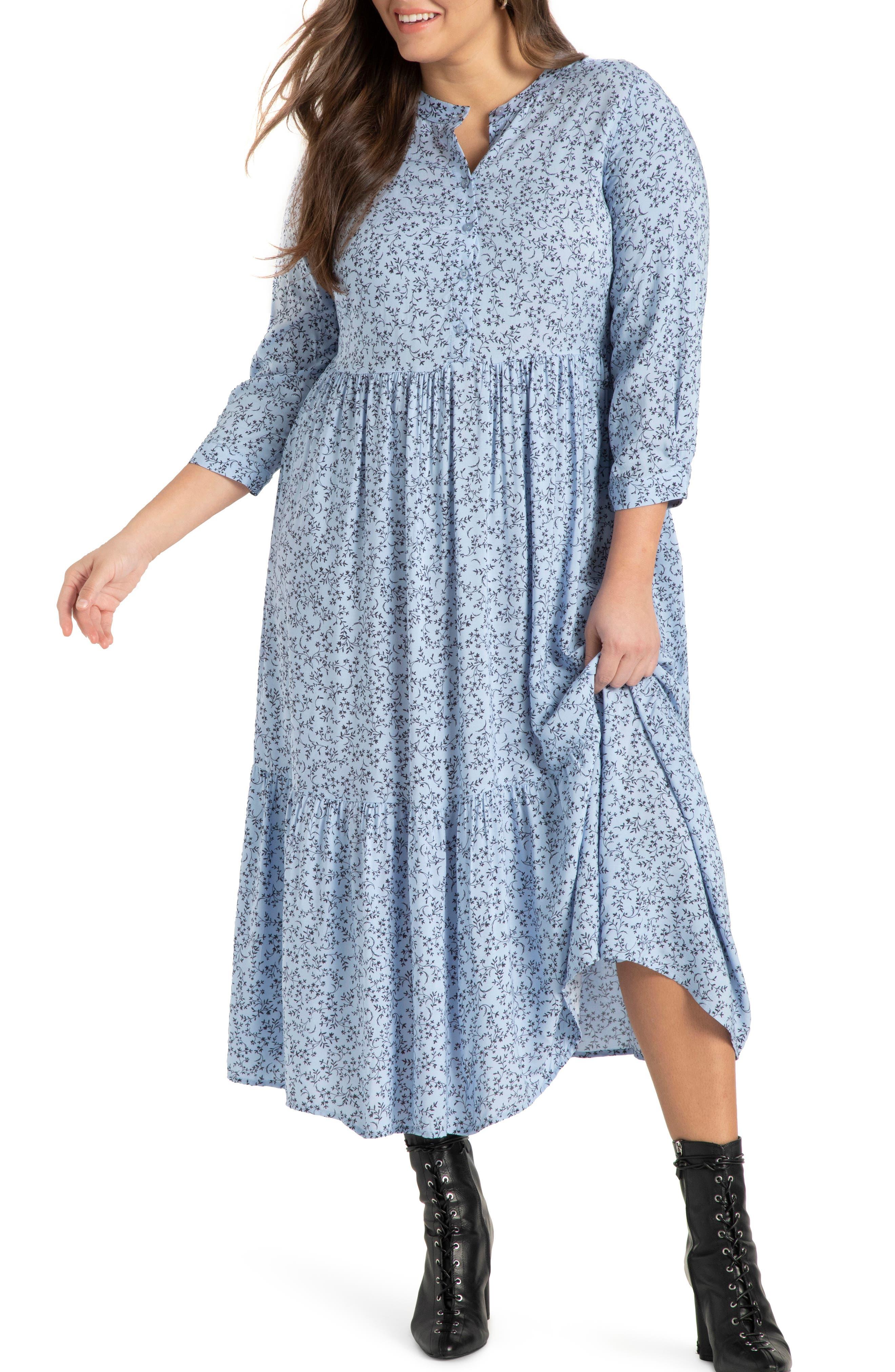 70s Dresses – Disco Dress, Hippie Dress, Wrap Dress Plus Size Womens Eloquii Floral Long Sleeve Dress Size 26W - Blue $129.95 AT vintagedancer.com