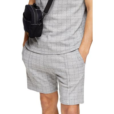Topman Skinny Fit Glen Plaid Drawstring Shorts, Grey
