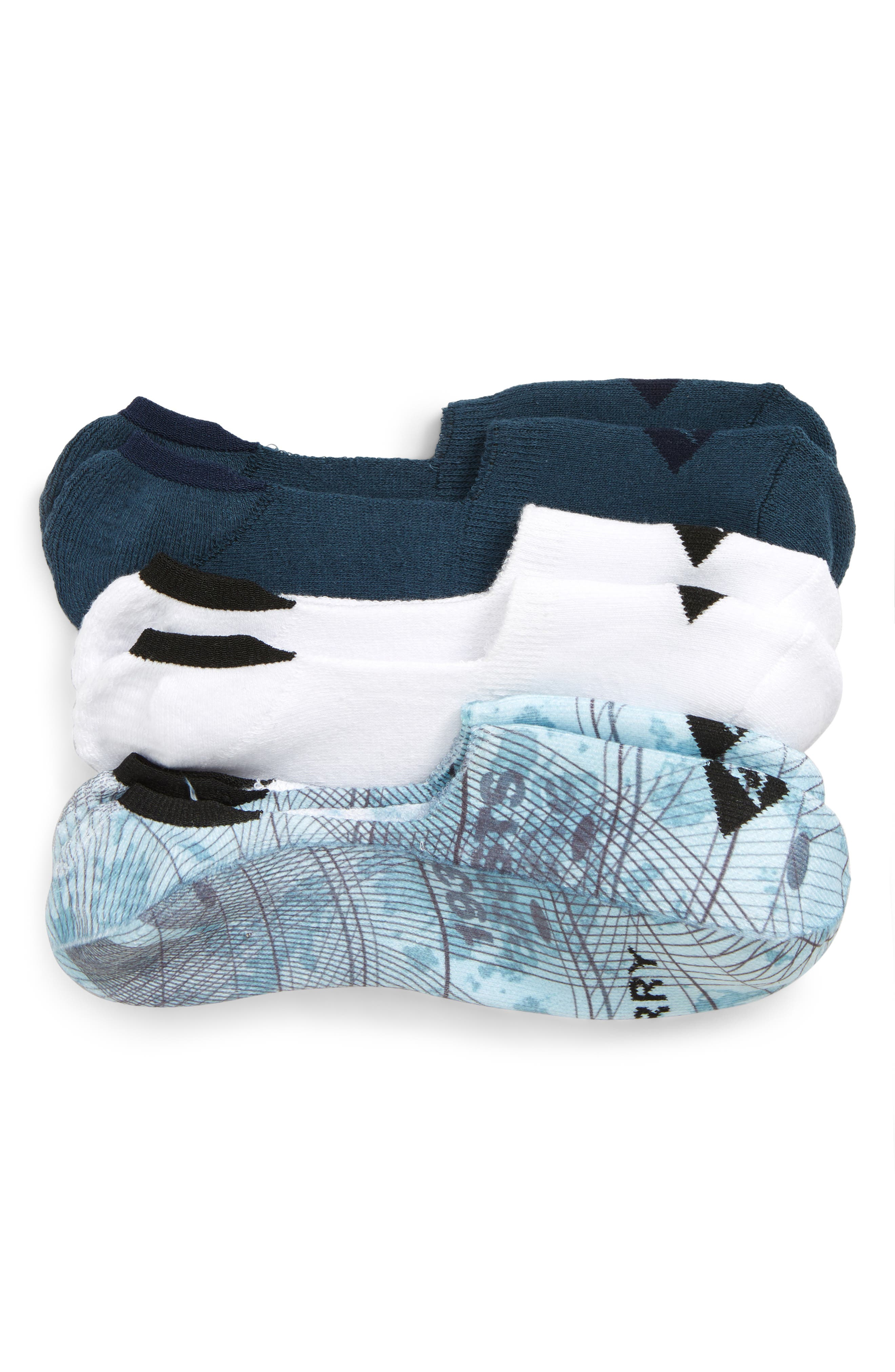 Spectra Sail Assorted 3-Pack Cushioned Liner Socks, Main, color, CAMEO BLUE ASST