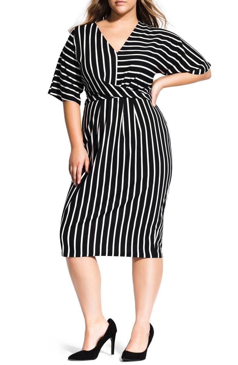 CITY CHIC Stripe Midi Dress, Main, color, WHITE STRIPE