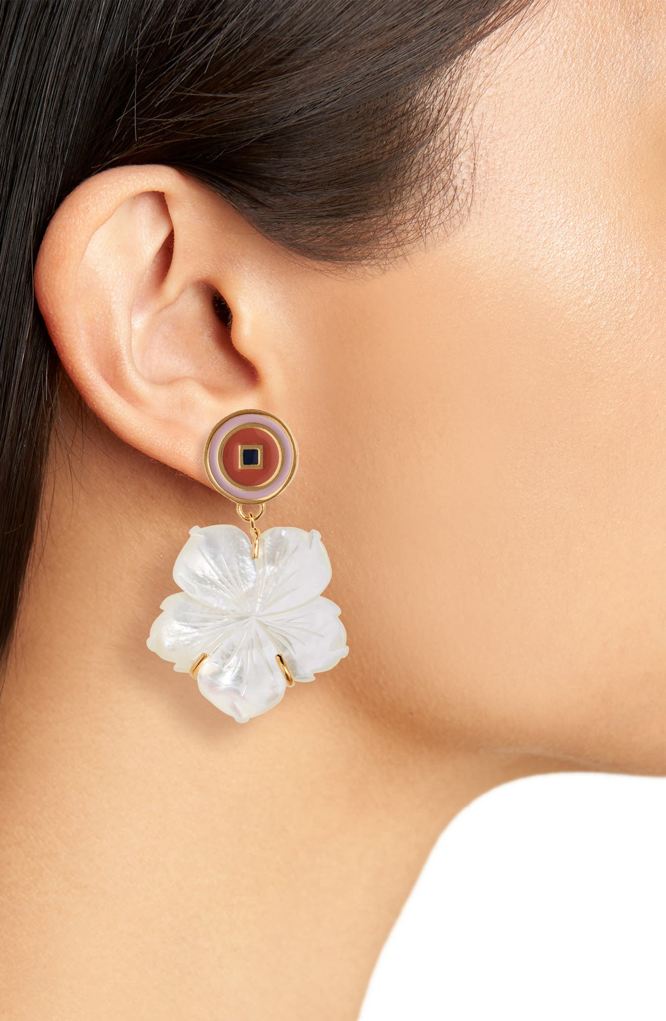,                             Monte Carlo Mother-of-Pearl Earrings,                             Alternate thumbnail 2, color,                             MOTHER OF PEARL/ PEACH