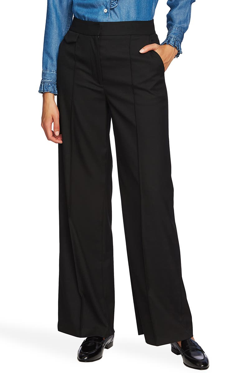 COURT & ROWE Pintuck Wide Leg Trousers, Main, color, RICH BLACK