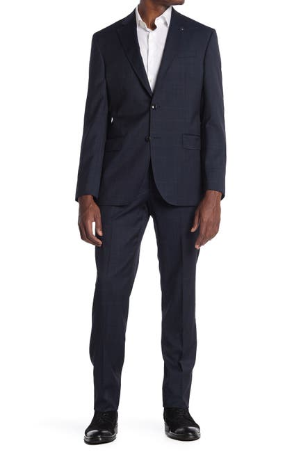 Image of Ted Baker London Jay Blue Plaid Two Button Notch Lapel Trim Fit Suit