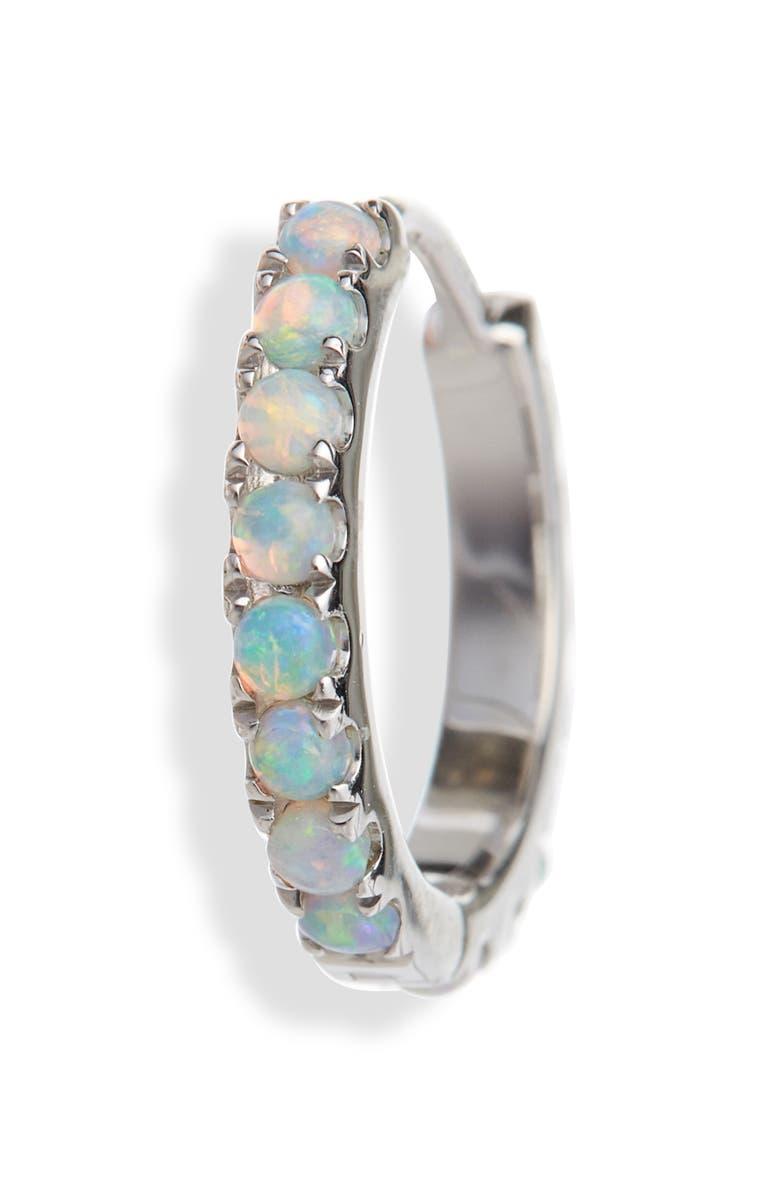 MARIA TASH Opal Eternity Hoop Earring, Main, color, WHITE GOLD