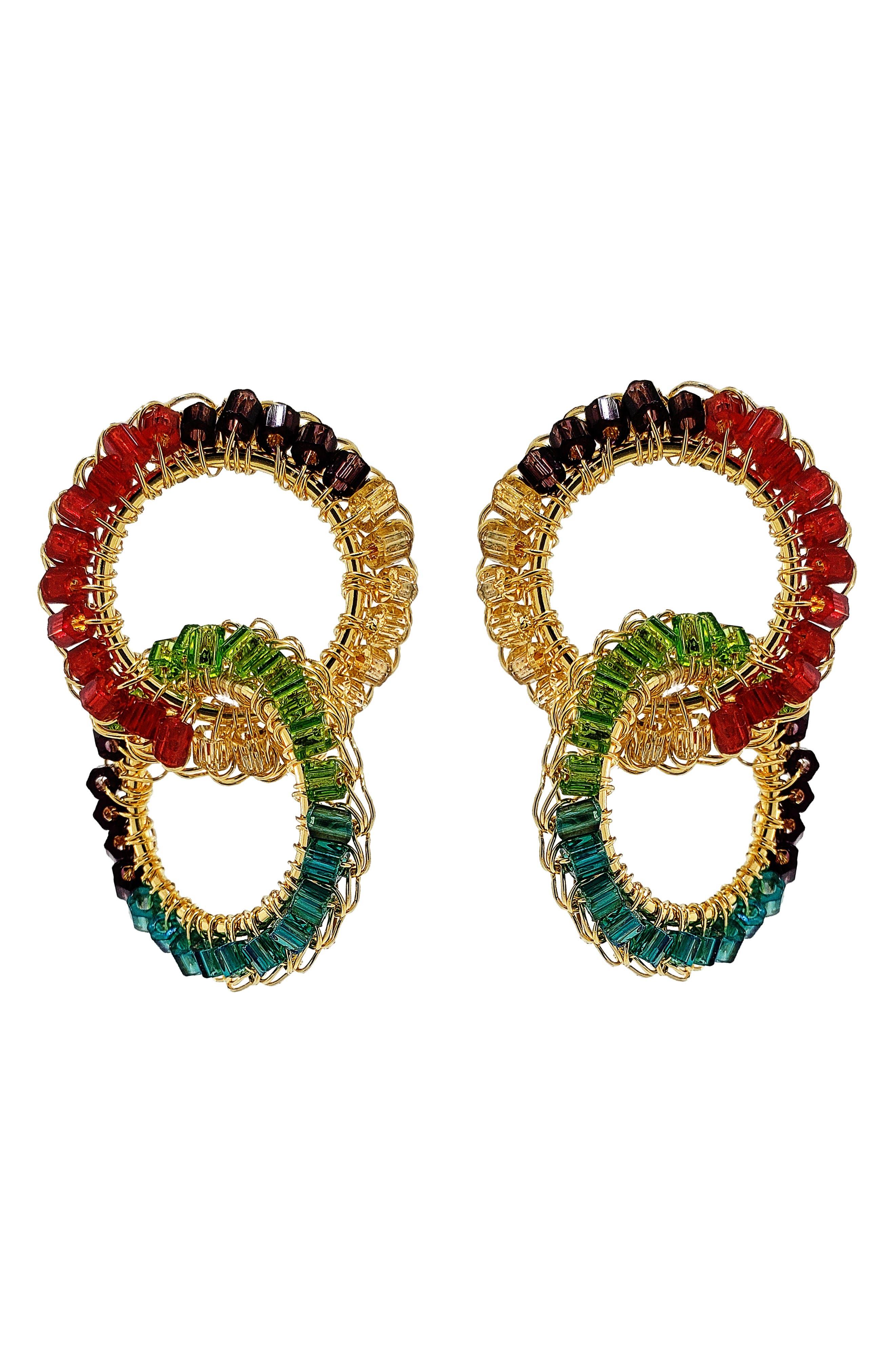 Women's Lavish Beaded Double Drop Hoop Earrings