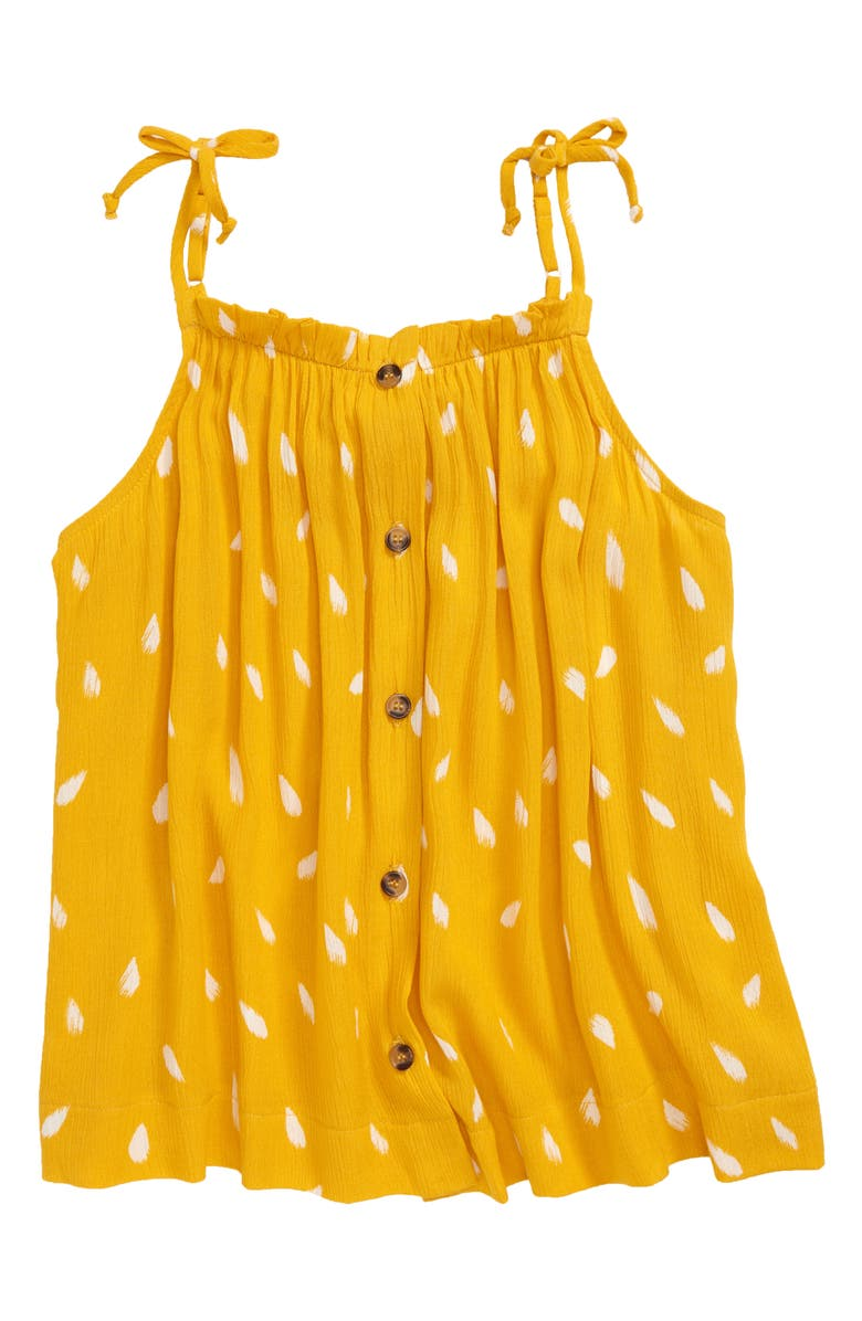WALKING ON SUNSHINE Tie Shoulder Tank Top, Main, color, MUSTARD