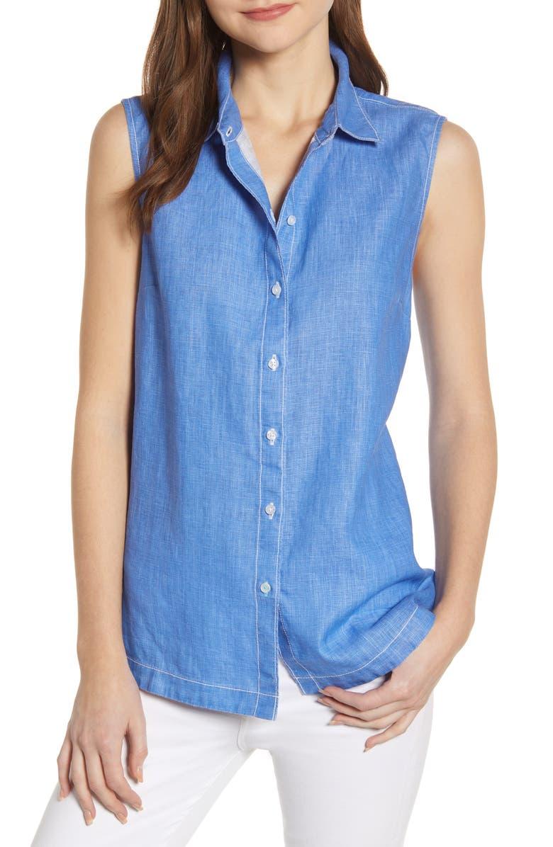 TOMMY BAHAMA New Sea Glass Breezer Sleeveless Linen Shirt, Main, color, NEW BLUE OPAL