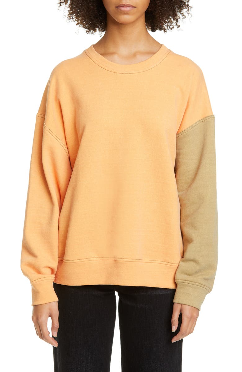 REJINA PYO Charlie Split Back Sweatshirt, Main, color, YELLOW MIX