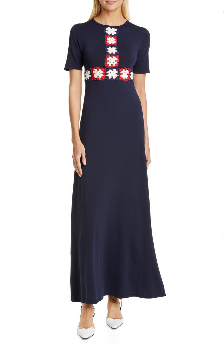 STAUD Plage Crochet Panel Maxi Dress, Main, color, NAVY