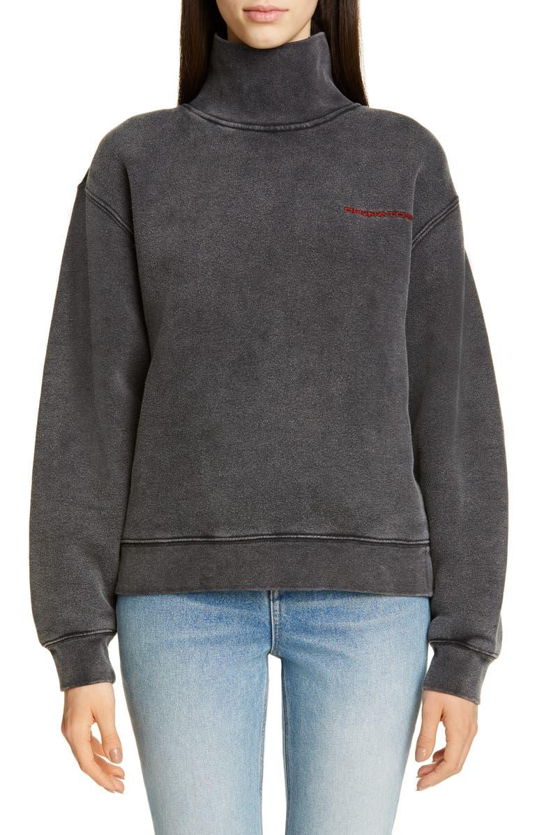 ALEXANDER WANG Chynatown Washed Sweatshirt, Main, color, FADED BLACK