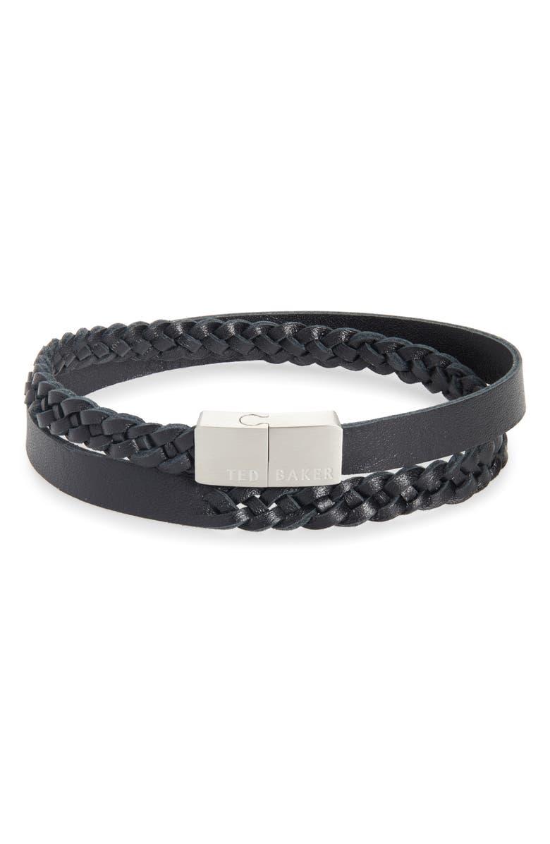 TED BAKER LONDON Braided Leather Bracelet, Main, color, 001