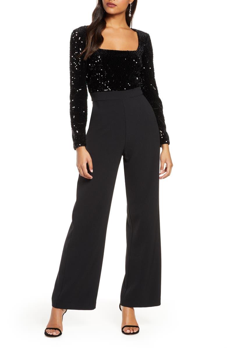 ELIZA J Sequin Long Sleeve Jumpsuit, Main, color, BLACK