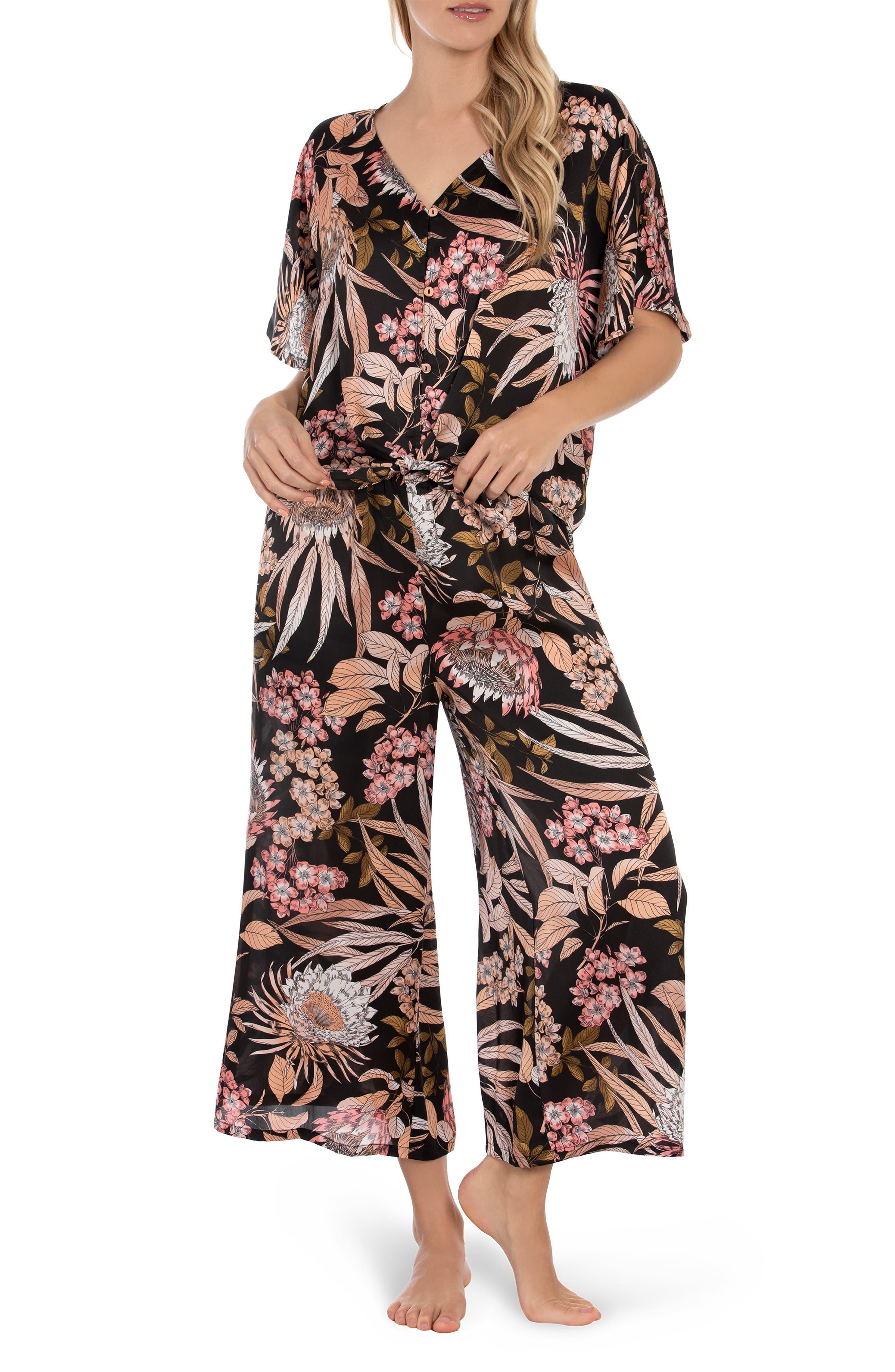 Floral Satin Crop Pajamas