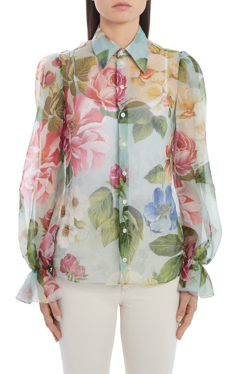 DOLCE&GABBANA Floral Print Balloon Sleeve Silk Organza Blouse, Main, color, 400