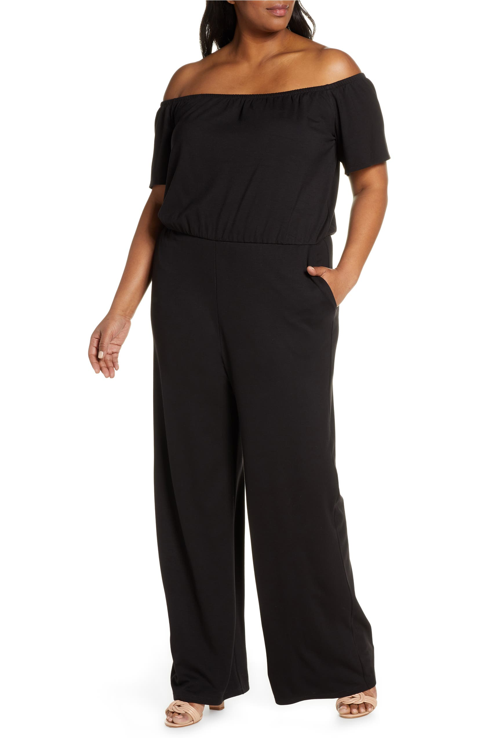 2b820eebd3 Gibson x Living in Yellow Iris Off the Shoulder Ponte Knit Jumpsuit (Plus  Size) (Nordstrom Exclusive) | Nordstrom