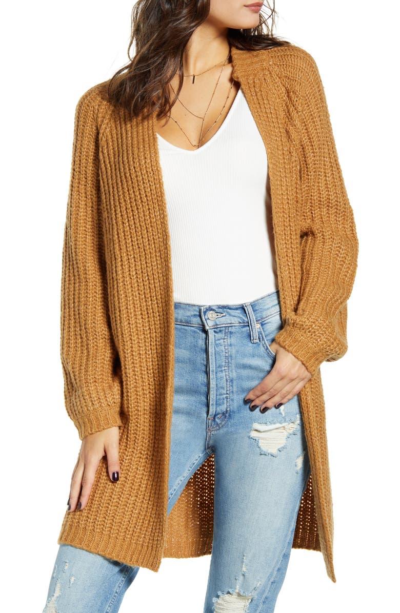 VERO MODA Poca Open Front Sweater Coat, Main, color, TOBACCO BROWN