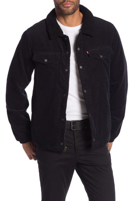 Image of Levi's Corduroy Faux Shearling Lined Trucker Jacket