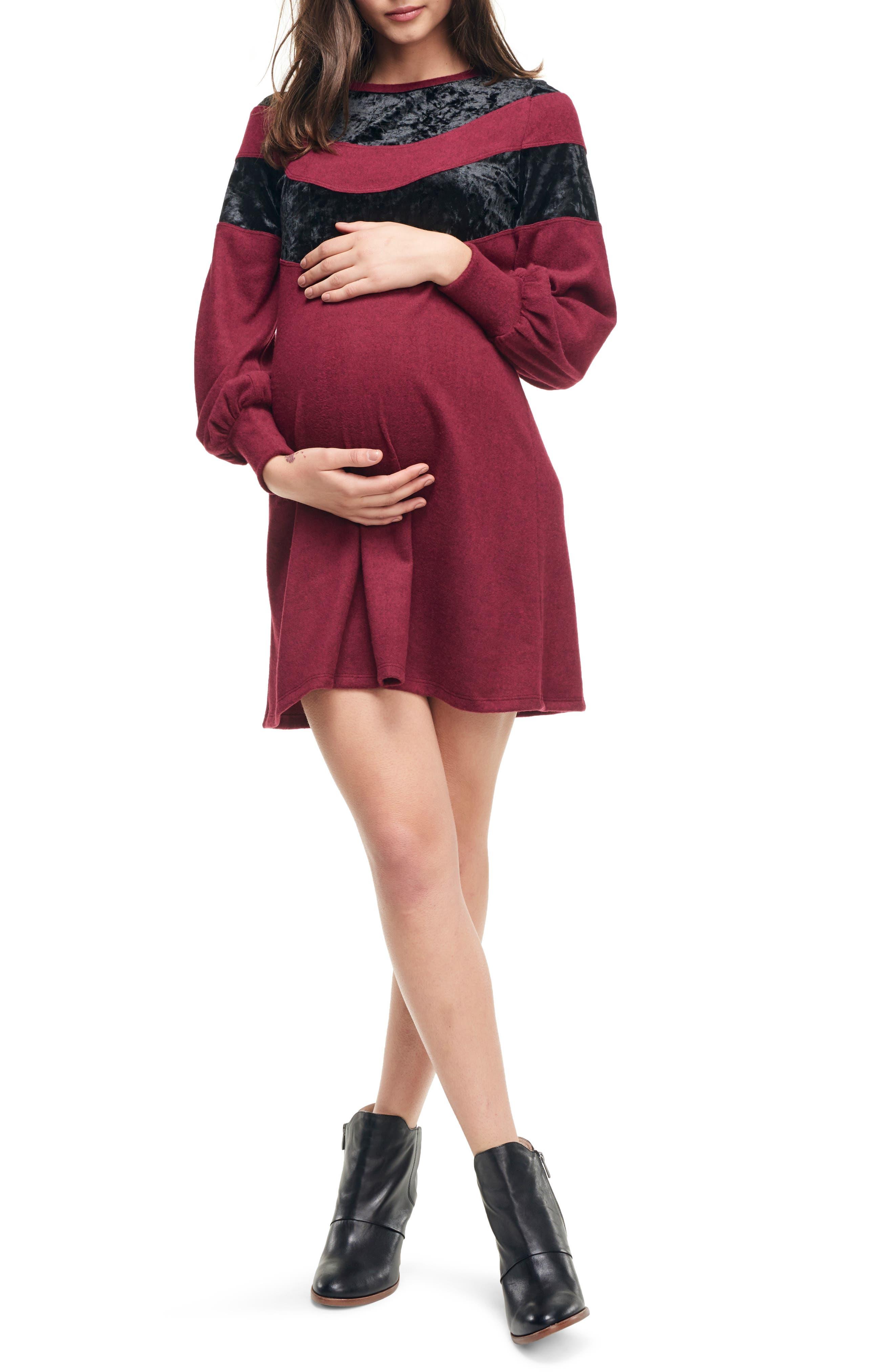 Maternal America Velvet Stripe Maternity Sweater Dress