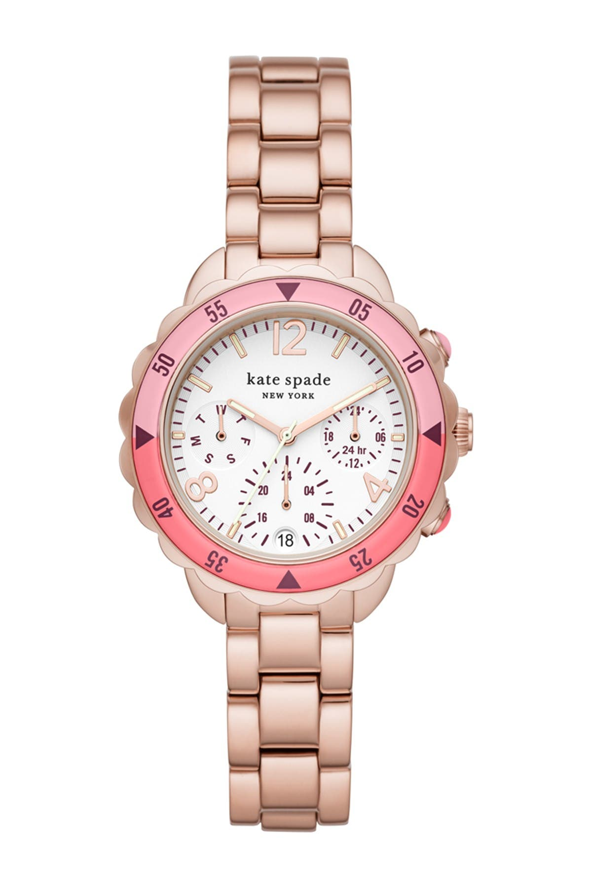 Image of kate spade new york women's baywater multifunction rose gold-tone stainless steel watch, 34mm