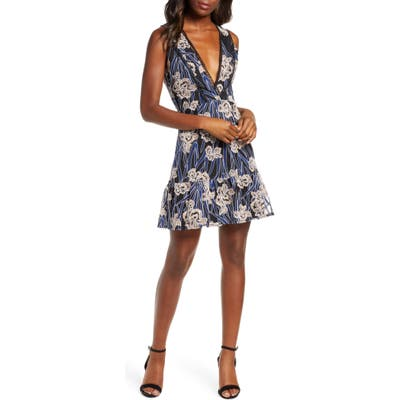 Adelyn Rae Tassia Embroidered Fit & Flare Dress, Blue