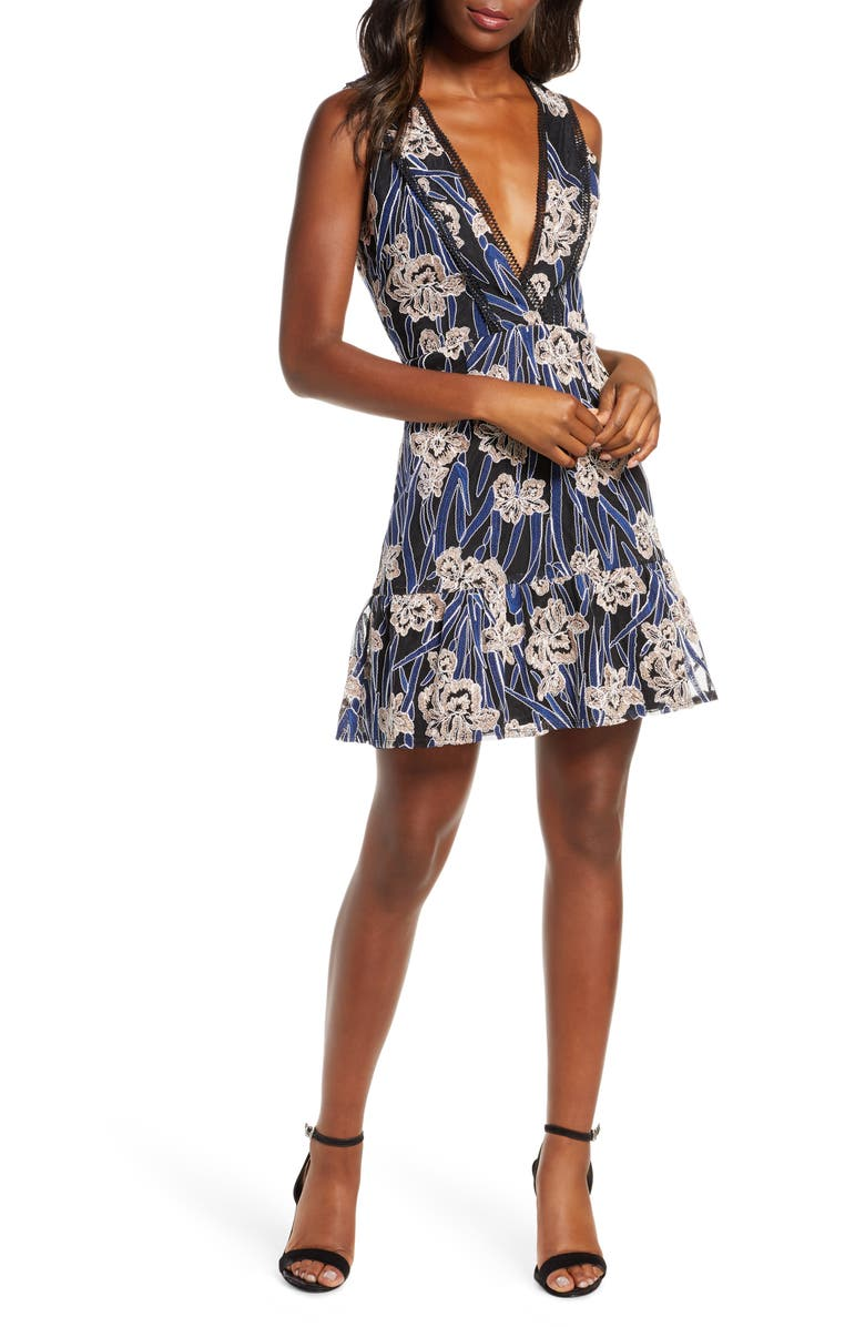 ADELYN RAE Tassia Embroidered Fit & Flare Dress, Main, color, BLUE-MULTI