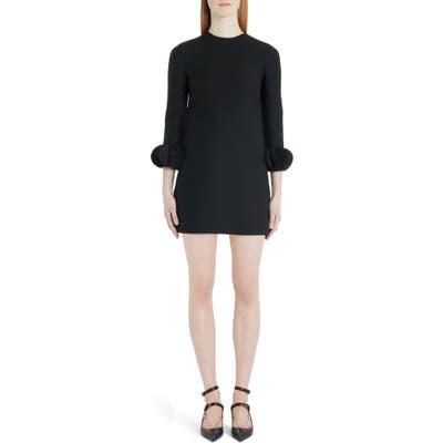 Valentino Disc Cuff Wool & Silk Shift Minidress, 6 IT - Black