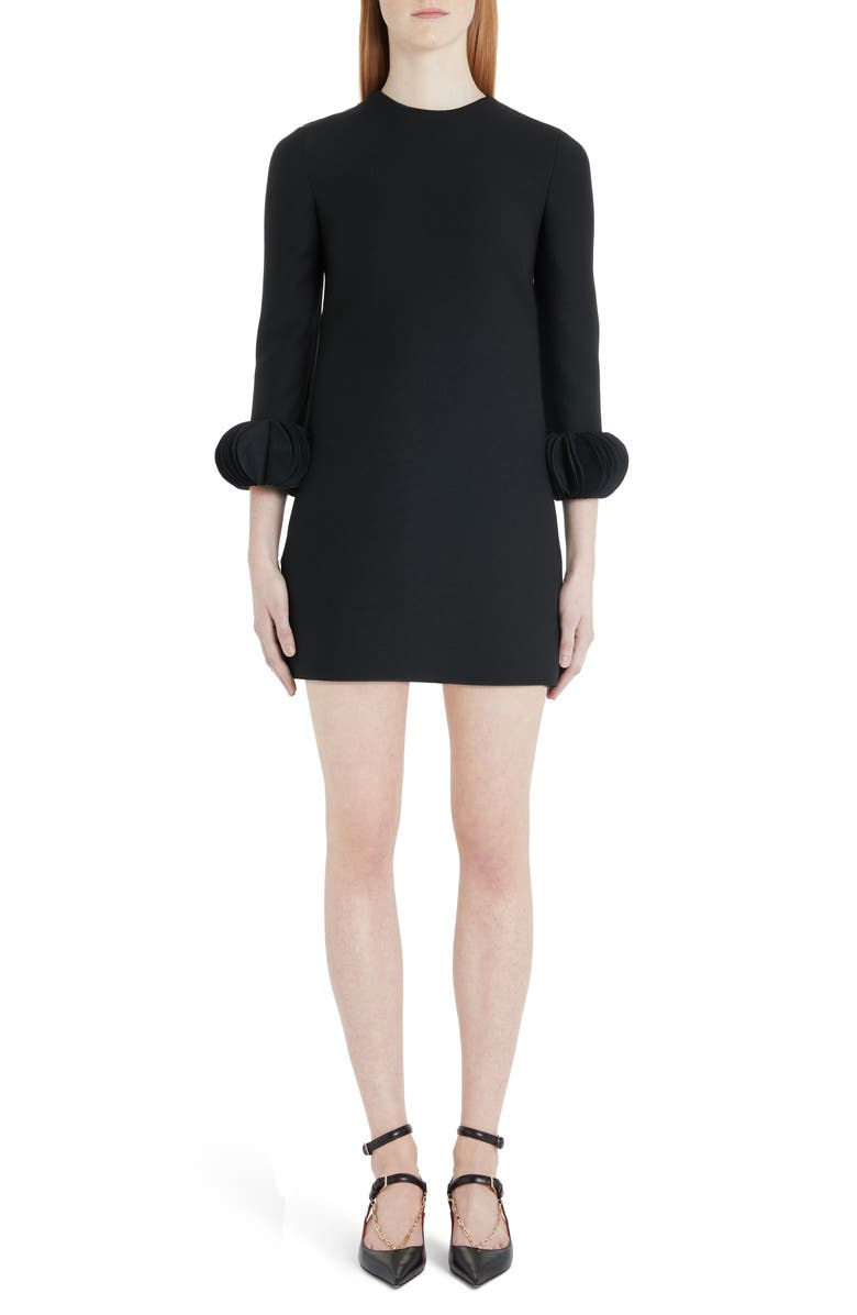VALENTINO Disc Cuff Wool & Silk Shift Minidress, Main, color, 001