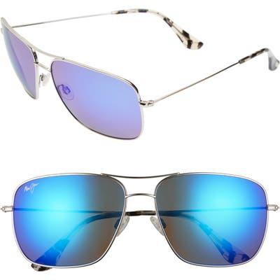 Maui Jim Cook Pines 6m Polarized Titanium Aviator Sunglasses - Silver/ Blue Hawaii