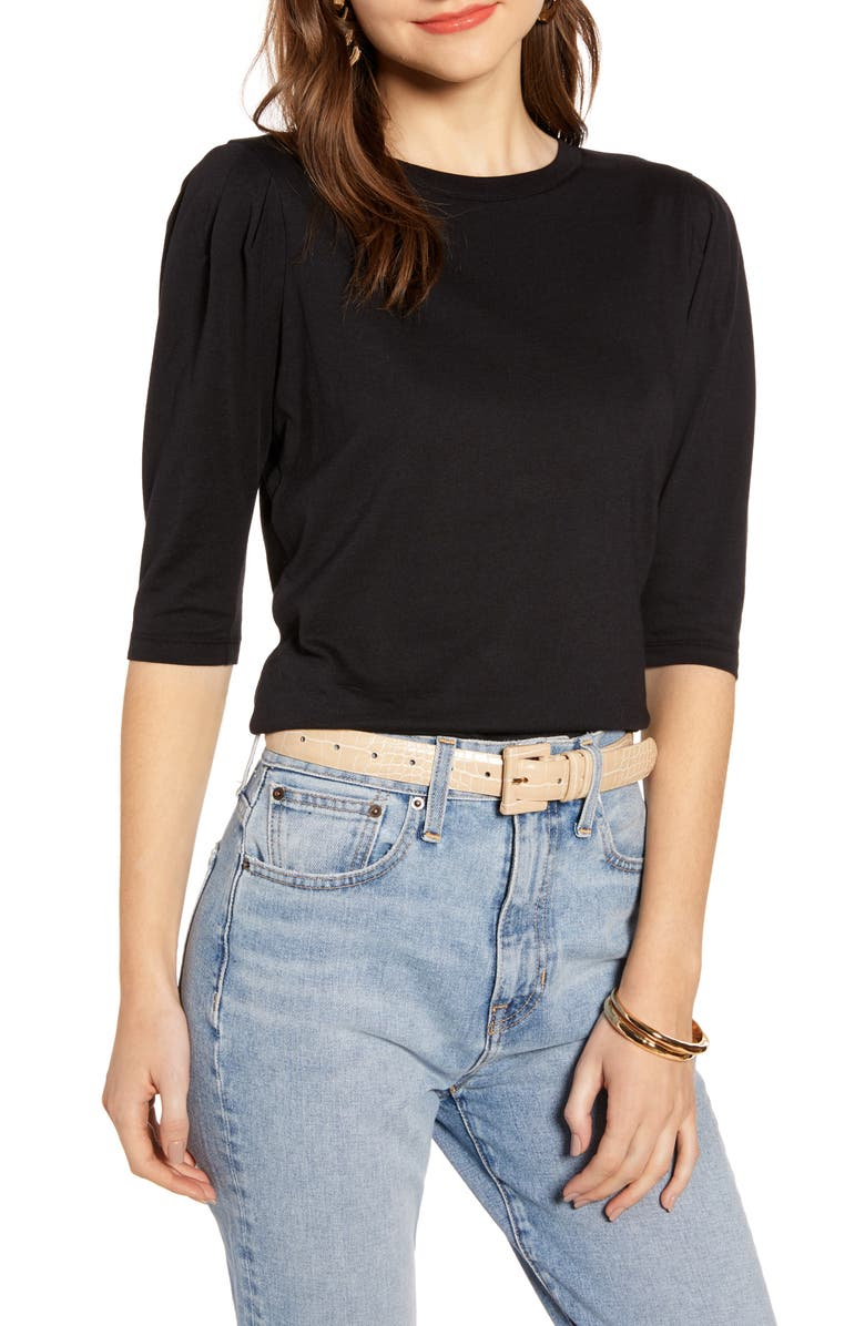 SOMETHING NAVY Puff Sleeve Tee, Main, color, BLACK