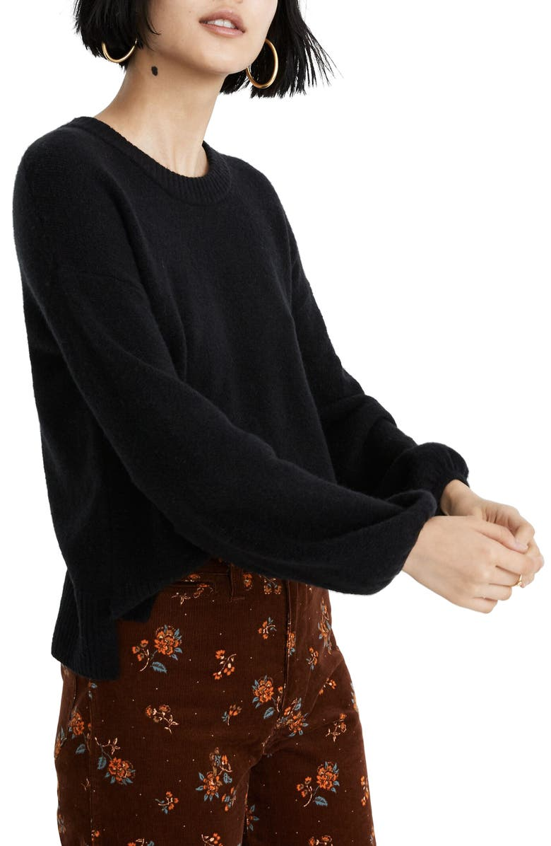 MADEWELL Payton Pullover Sweater, Main, color, TRUE BLACK