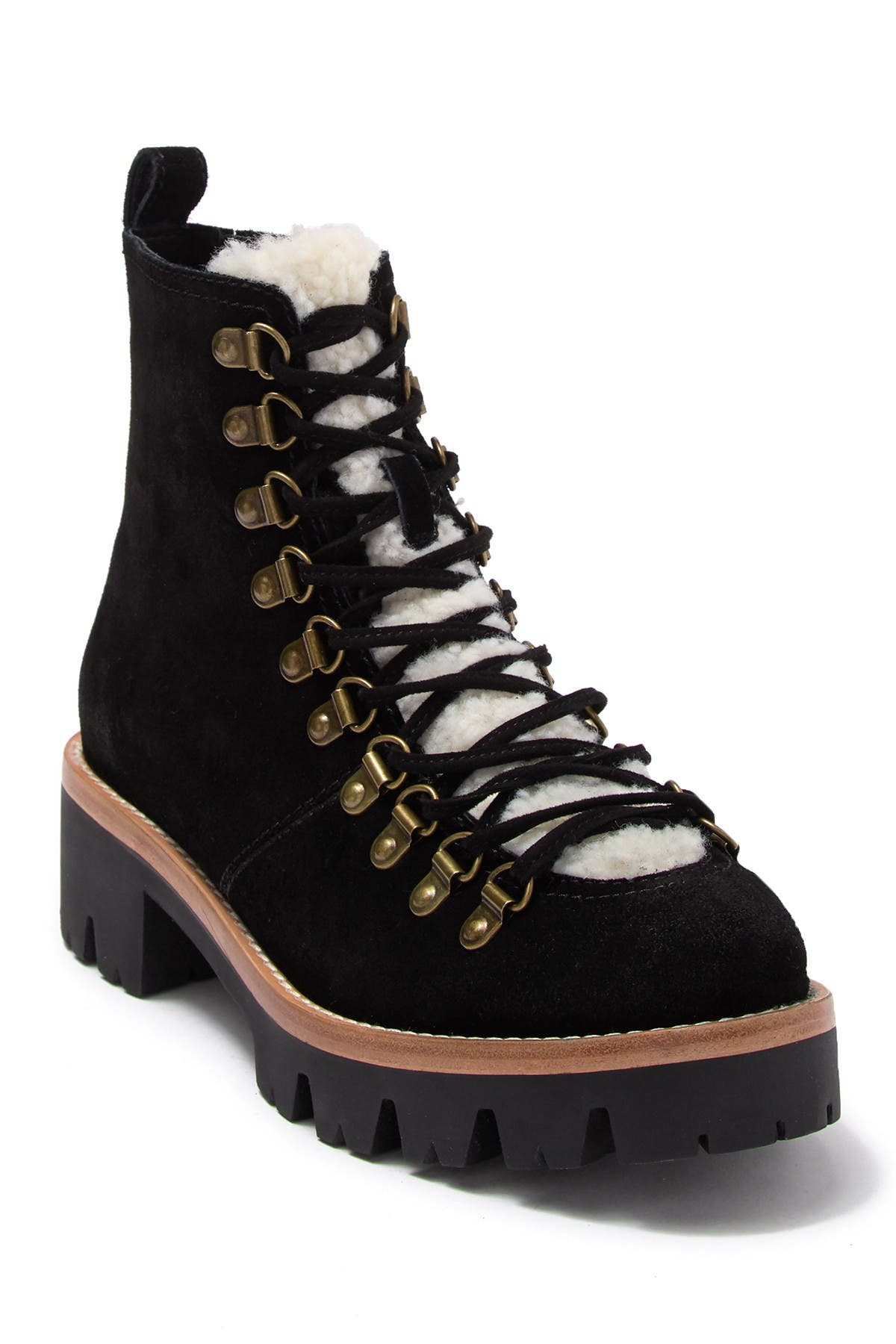 Image of Jeffrey Campbell Stanley Faux Fur Detail Lace-Up Hiker