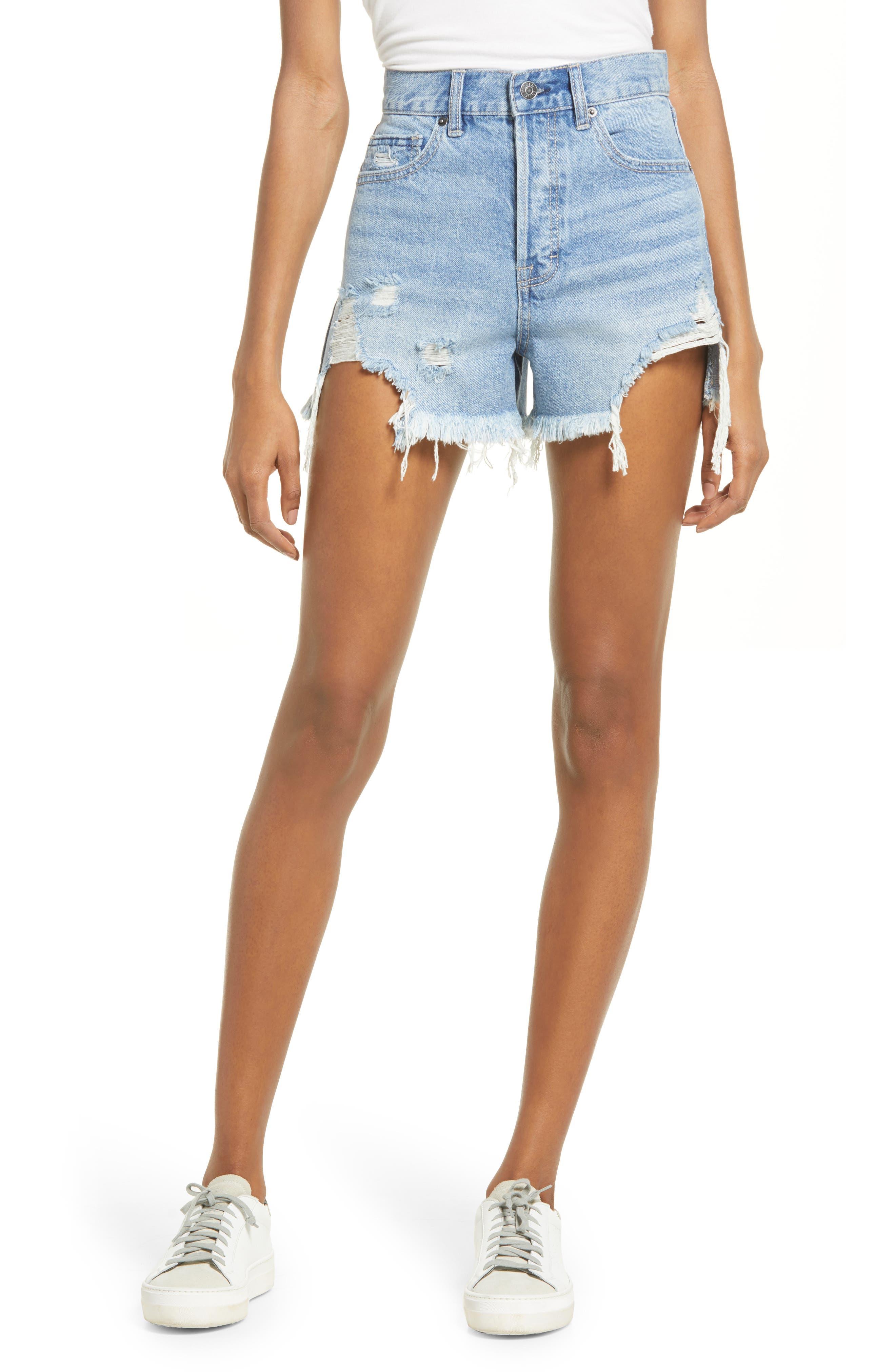 Chewed Hem Distressed Denim Shorts