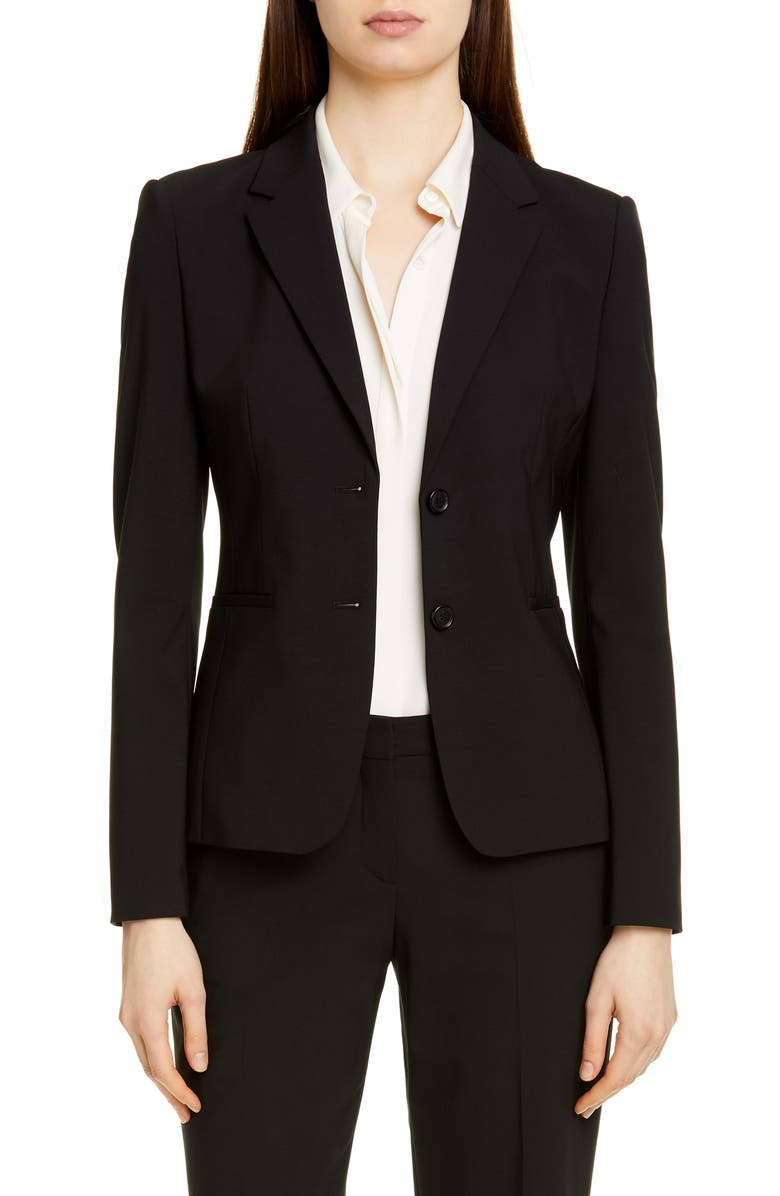 BOSS Julea Stretch Wool Jacket, Main, color, BLACK