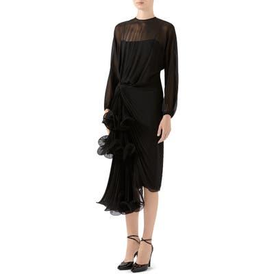 Gucci Draped Silk Georgette Long Sleeve Midi Dress, US / 40 IT - Black