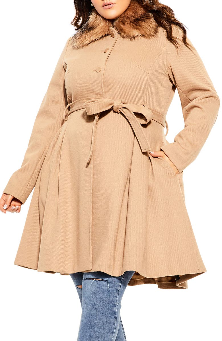 CITY CHIC Blushing Belle Faux Fur Collar Coat, Main, color, TAUPE