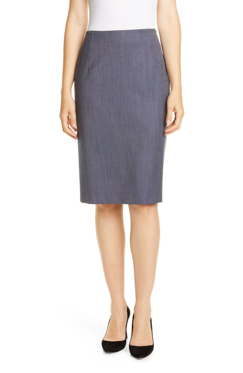 BOSS Valiana Blurred Minidessin Wool Pencil Skirt, Main, color, KLEIN BLUE FANTASY