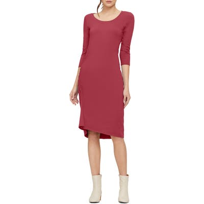 Michael Stars Tina Ruched Stretch Cotton Body-Con Dress, Red