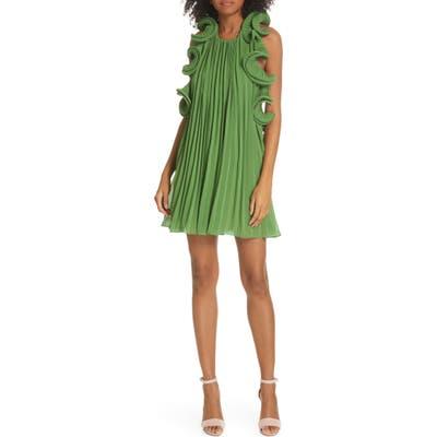 Amur Mimi Pleated Ruffle Dress, Green