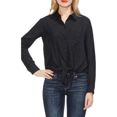 Vince Camuto Tie Front Rumple Satin Shirt, Black
