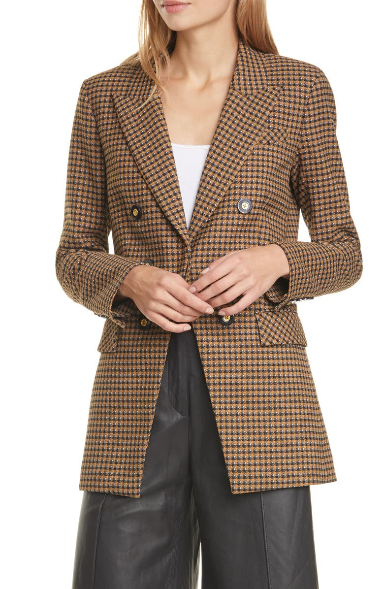 VERONICA BEARD Fortuna Houndstooth Check Dickey Jacket, Main, color, 252