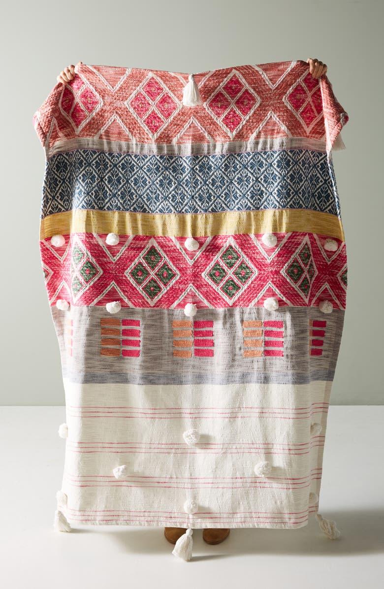 ANTHROPOLOGIE Rosewood Throw Blanket, Main, color, MULTI