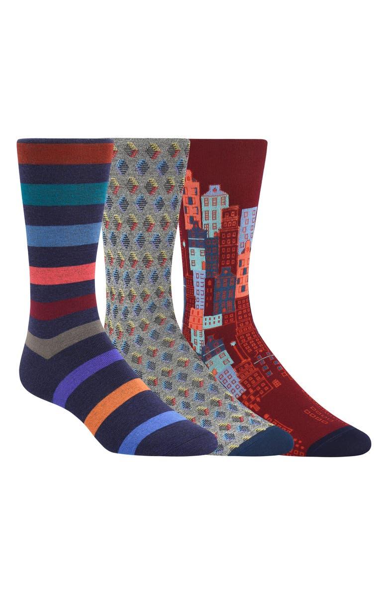 BUGATCHI 3-Pack Sock Gift Set, Main, color, 930