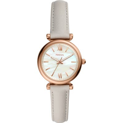 Fossil Mini Carlie Star Leather Strap Watch, 2m